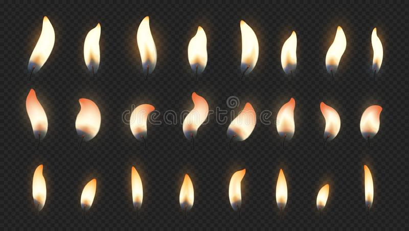 Candle flame. Realistic fire light effects for birthday cake burning candle. Vector candlelight set isolated on. Candle flame. Realistic fire light effects for royalty free illustration