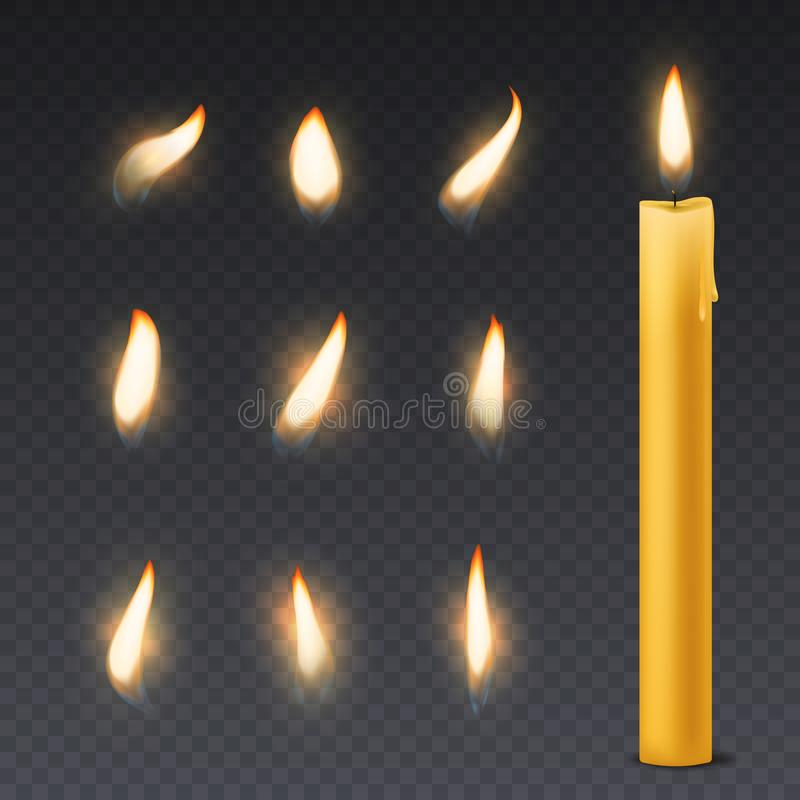 Candle flame. Romantic holiday wax burning candles light close up warm fire wick spa christmas dinner decoration vector illustration