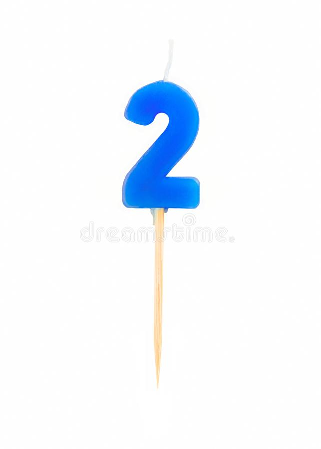 Candle in the form of two figures numbers, dates for cake isolated on white background. The concept of celebrating a birthday, a. Nniversary, important date stock photo