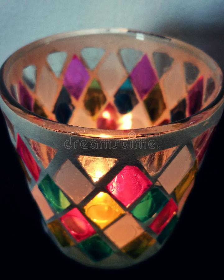Candle glass stock photos