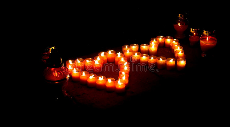 Candle of hearts. royalty free stock image