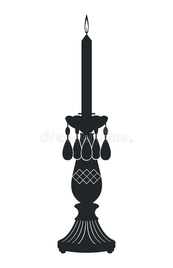Candle Holder. Silhouette of Candle Holder in Black royalty free illustration