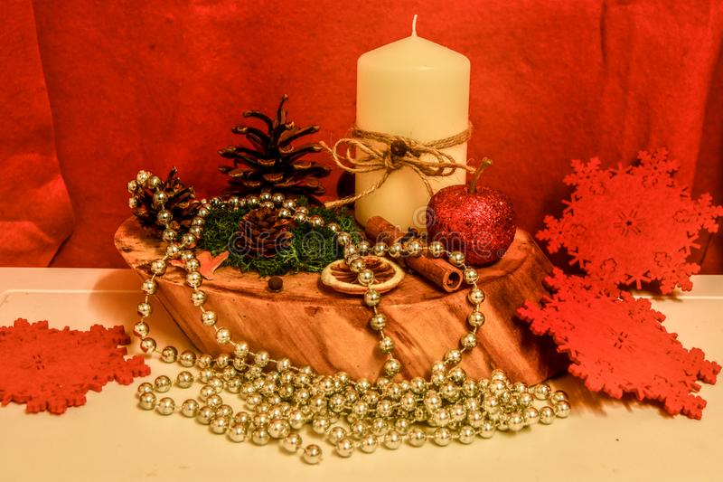 Candle holder Christmas decorations, made by hand, natural ingredients royalty free stock images