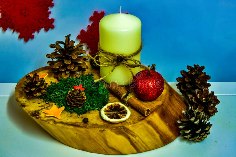 Candle holder Christmas decorations, made by hand, natural ingredients royalty free stock image