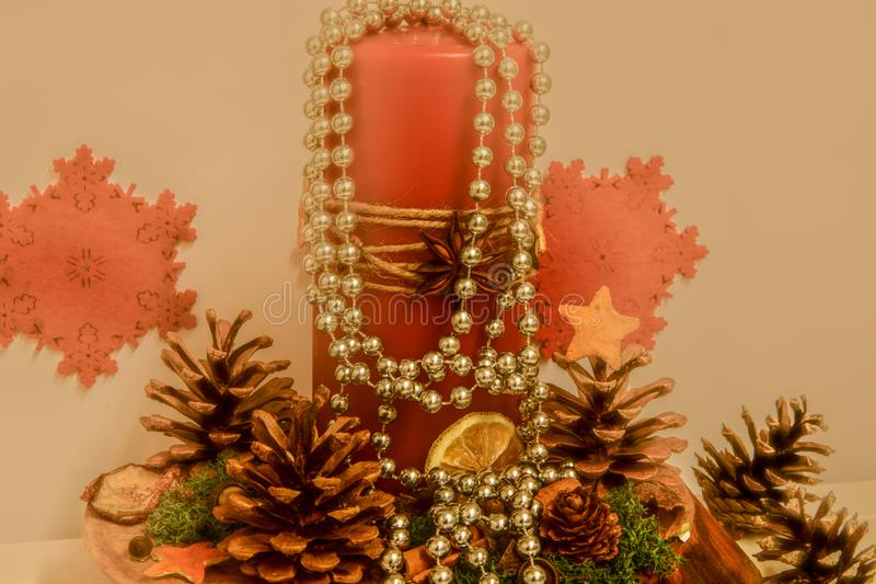 Candle holder on the table, Christmas stock images