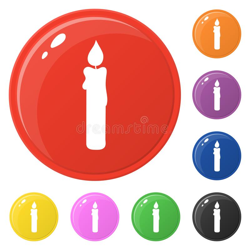 Candle icons set 8 colors isolated on white. Collection of glossy round colorful buttons. Vector illustration for any design.  stock illustration