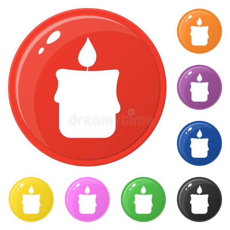 Candle icons set 8 colors isolated on white. Collection of glossy round colorful buttons. Vector illustration for any design.  royalty free illustration