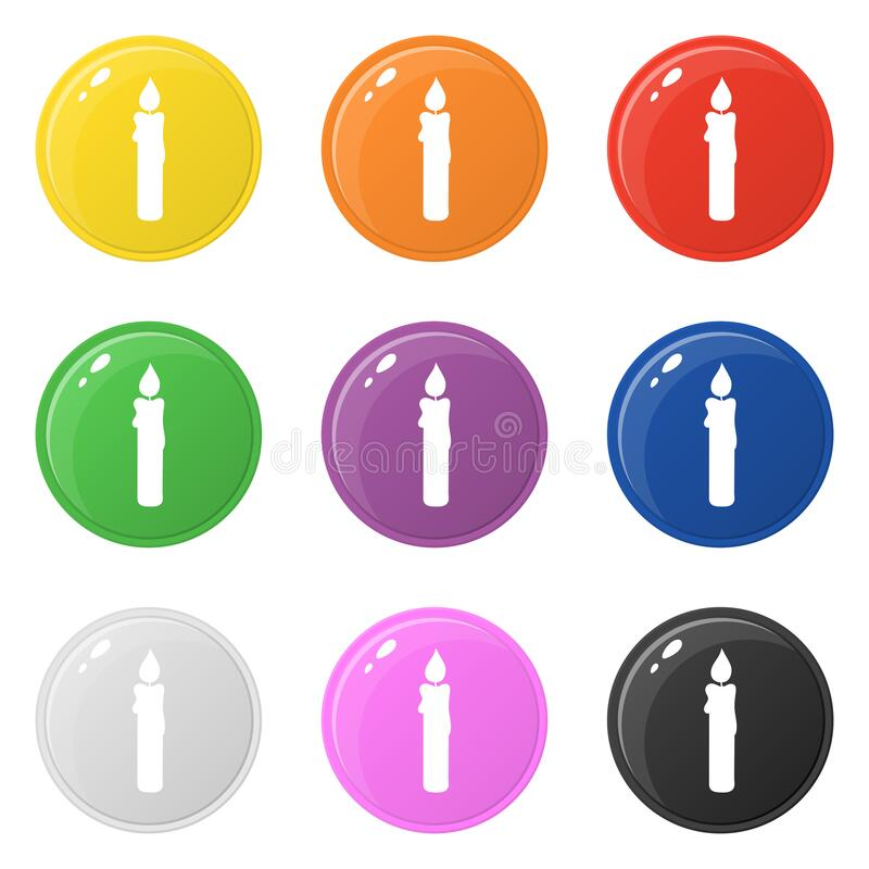 Candle icons set 9 colors isolated on white. Collection of glossy round colorful buttons. Vector illustration for any design.  vector illustration