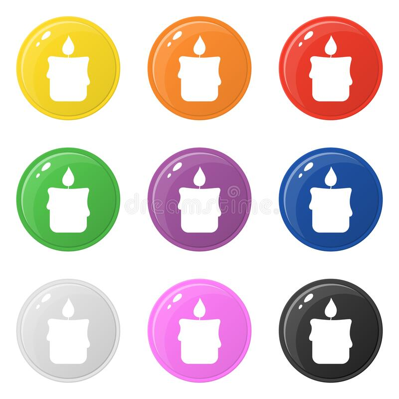 Candle icons set 9 colors isolated on white. Collection of glossy round colorful buttons. Vector illustration for any design.  royalty free illustration