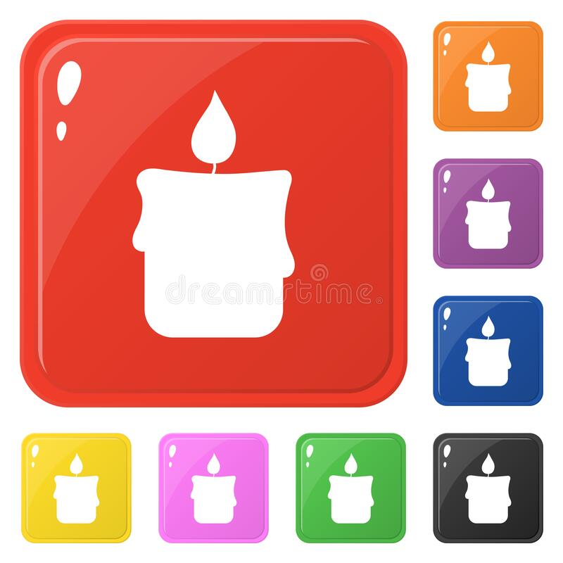 Candle icons set 8 colors isolated on white. Collection of square round colorful buttons. Vector illustration for any design.  royalty free illustration