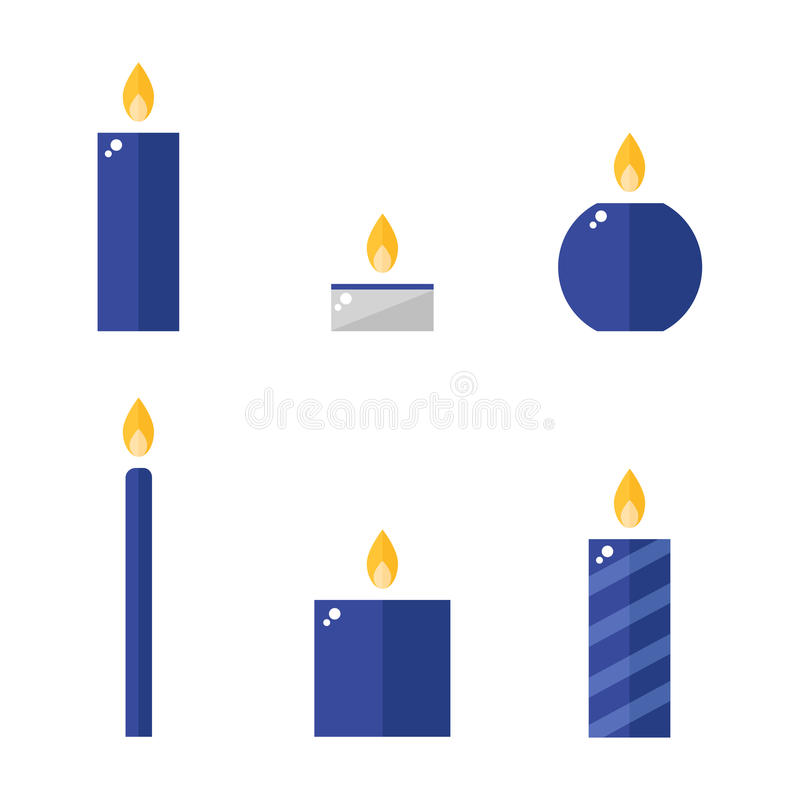 Candle icons set. Candle isolated icons on white background. Flat style vector illustration vector illustration