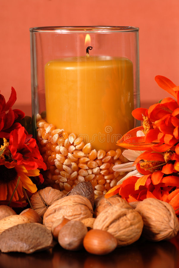 Free Candle In An Autumn Setting Royalty Free Stock Photos - 3079548