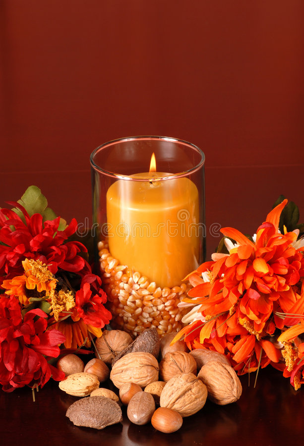Free Candle In An Autumn Setting Stock Photos - 3079603