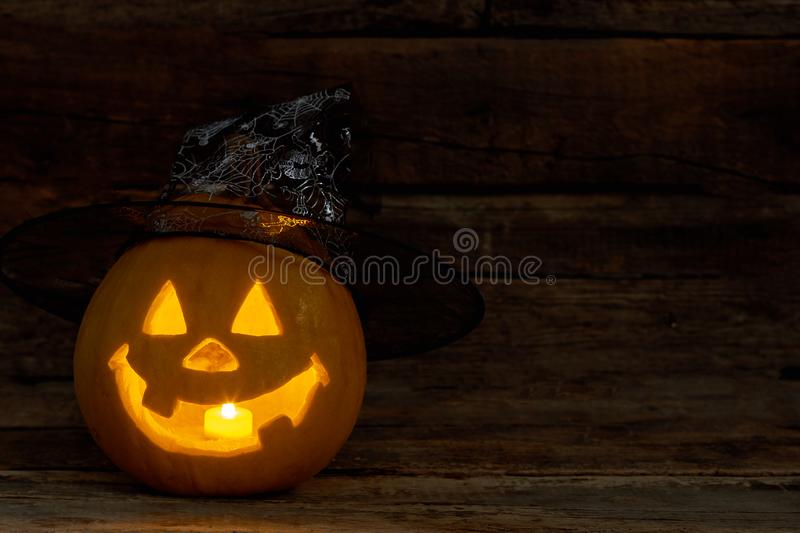 The candle inside of the Jack-O-Lantern. royalty free stock photos