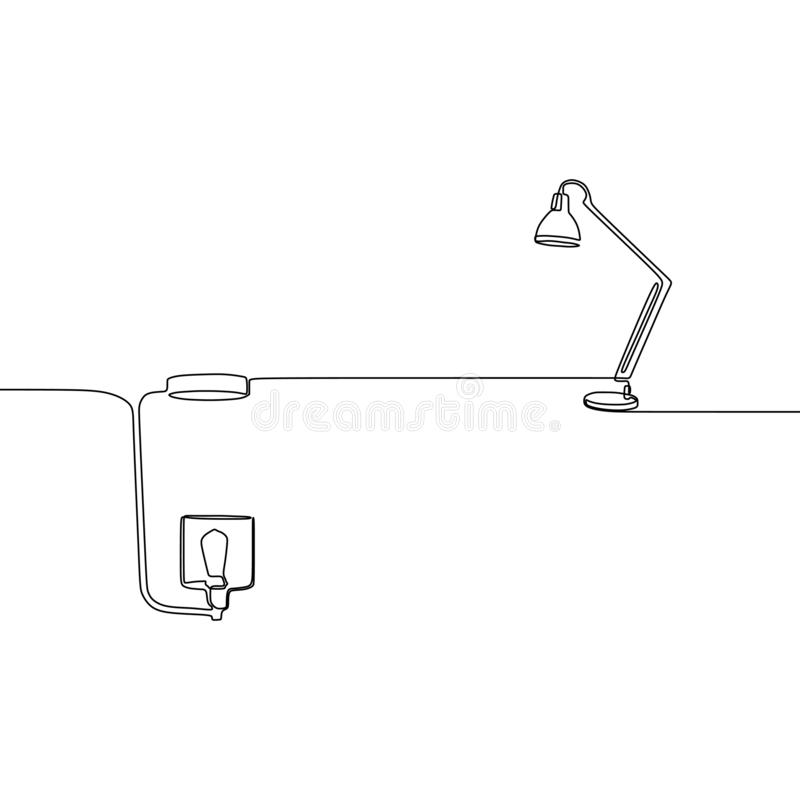 candle lamp and modern table lamp one line floor lamp light icon silhouette for home appliance indoor furniture. Vector flat royalty free illustration