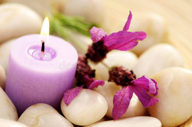 Candle and lavender royalty free stock photos
