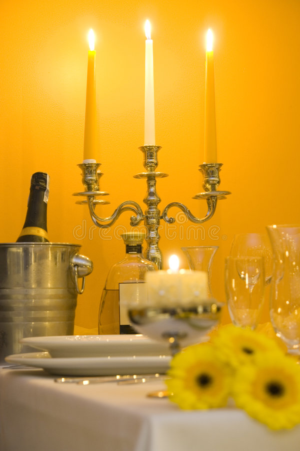 Candle light dinner setting stock image