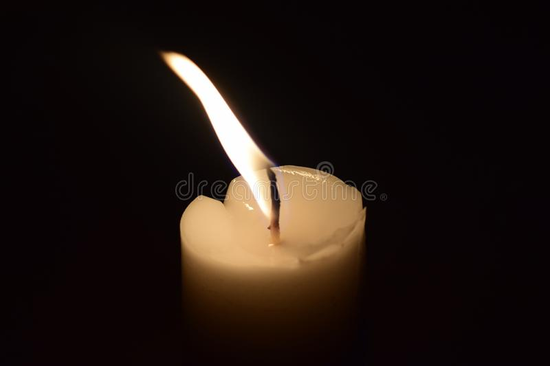 Candle Light flame close up With black background stock photography