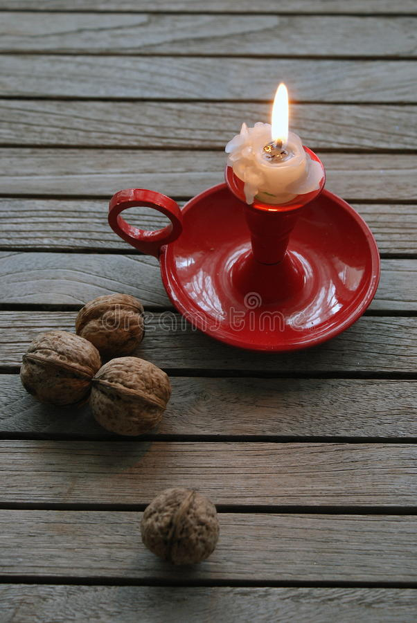 Candle Light with Nuts stock photos