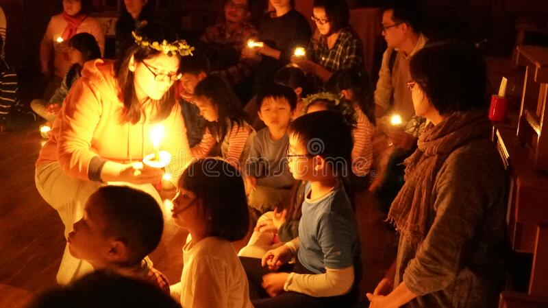 Candle lighting ceremony with children royalty free stock photos
