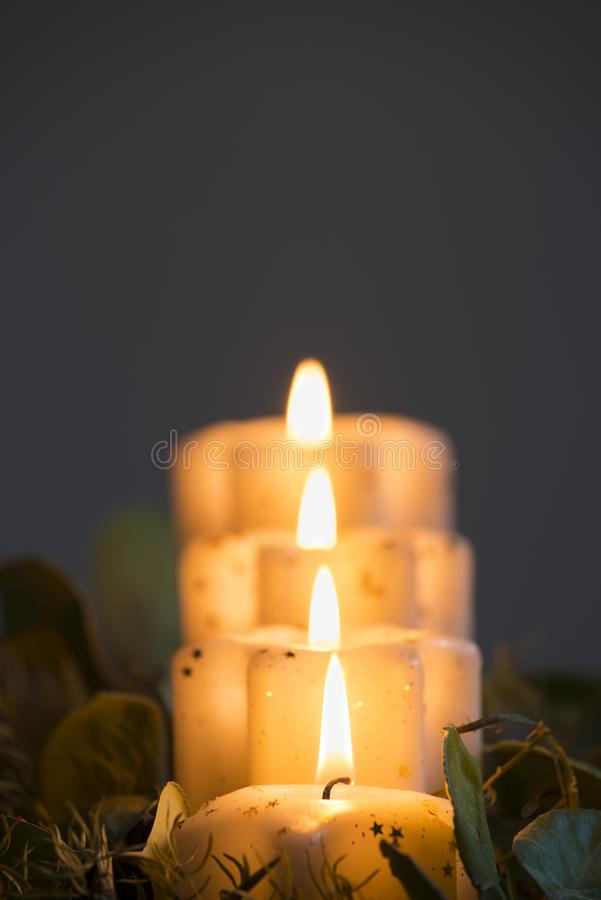 Candle lights in the column royalty free stock photos