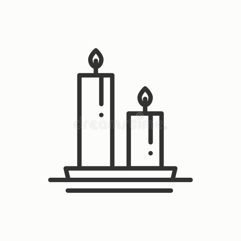 Candle line outline icon. Two burning candles with a bright flame. Light burn wax. Vector simple linear design stock illustration