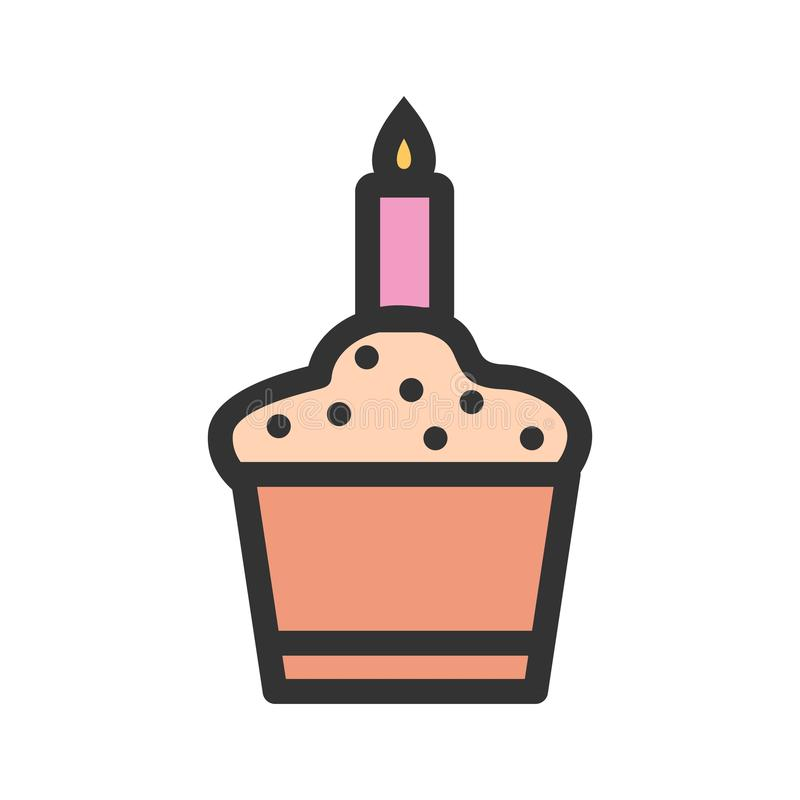 Candle on Muffin. Birthday, muffin, cupcake icon vector image. Can also be used for birthday. Suitable for mobile apps, web apps and print media vector illustration