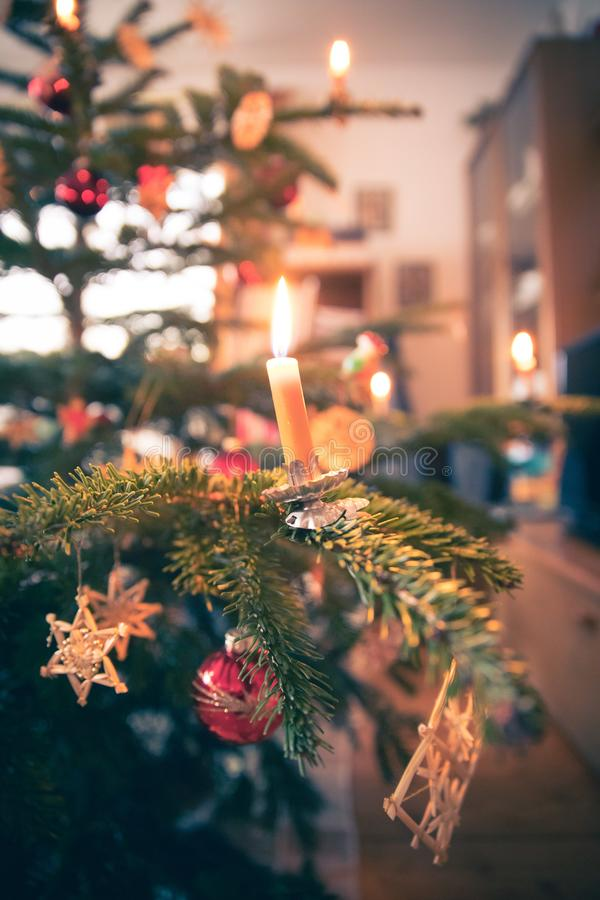 Free Candle On Traditional Decorated Christmas Tree, Evening Royalty Free Stock Photography - 149195887
