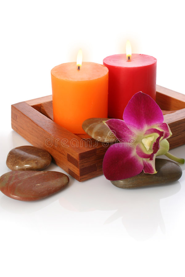 Download Candle, Orchrid and Pebble stock photo. Image of feminine - 1377380