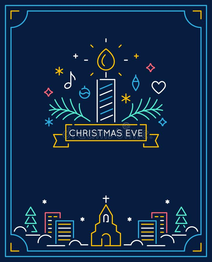Candle and Ornaments, Winter Town and Church Outline. Christmas Eve Candlelight Service Invitation. Line Art Vector. Design stock illustration
