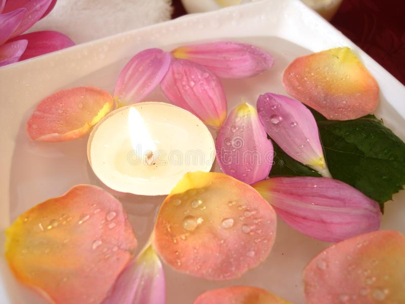 Candle with petals of flowers royalty free stock photography