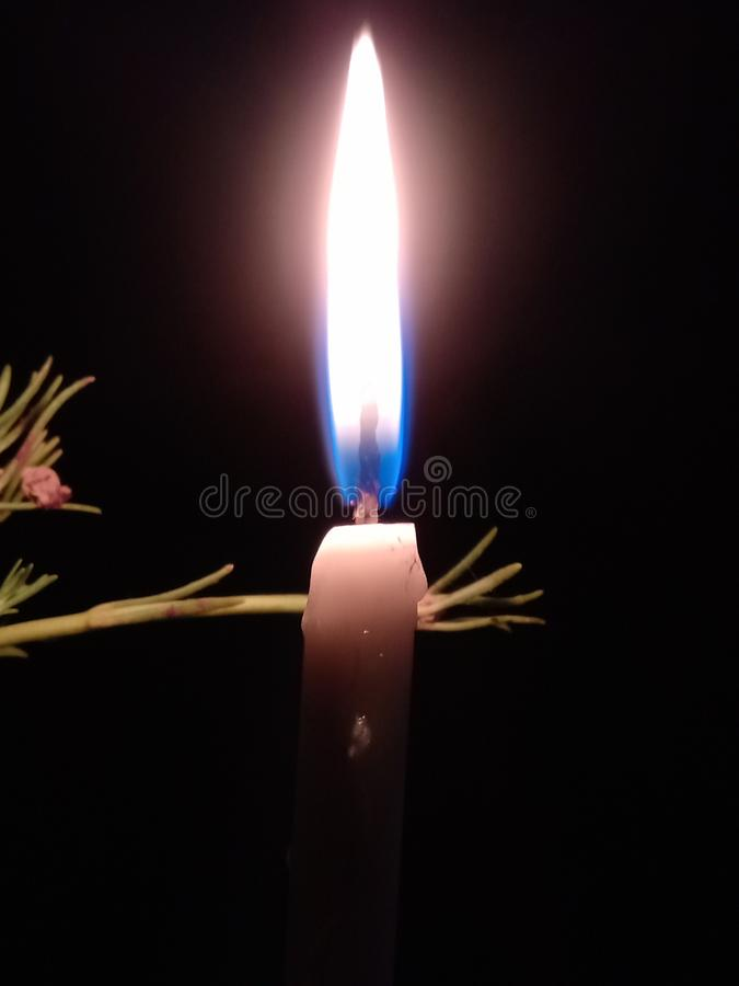 Candle shot night lit fire royalty free stock photo