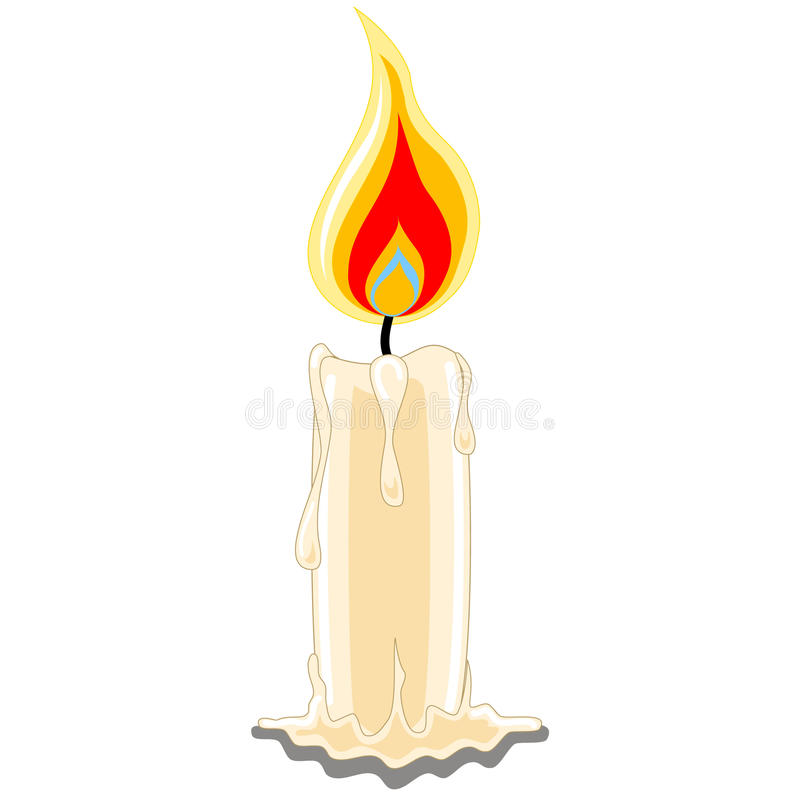 Candle Single. Single wax candle with burning flame vector illustration