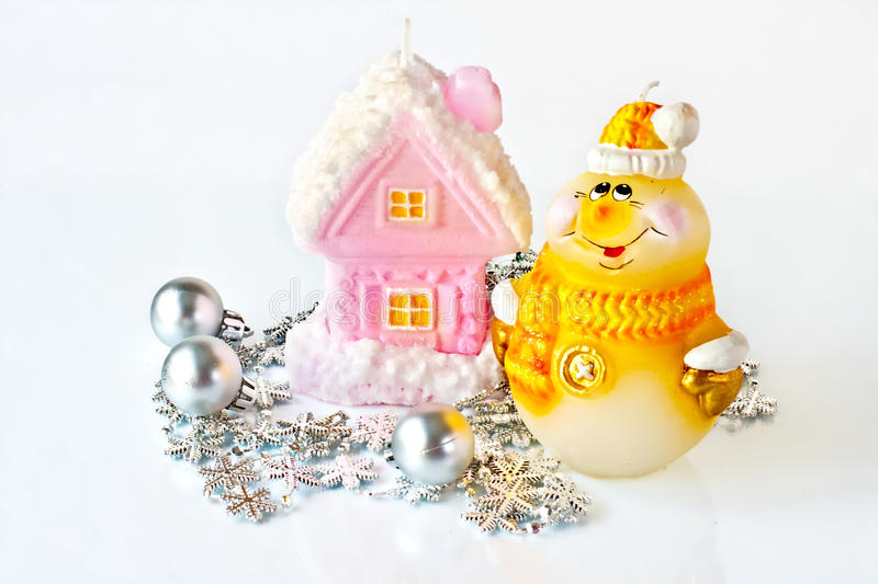 Christmas candles and toys stock images