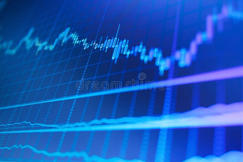 Candle stick graph chart. Forex market charts on computer display stock photography
