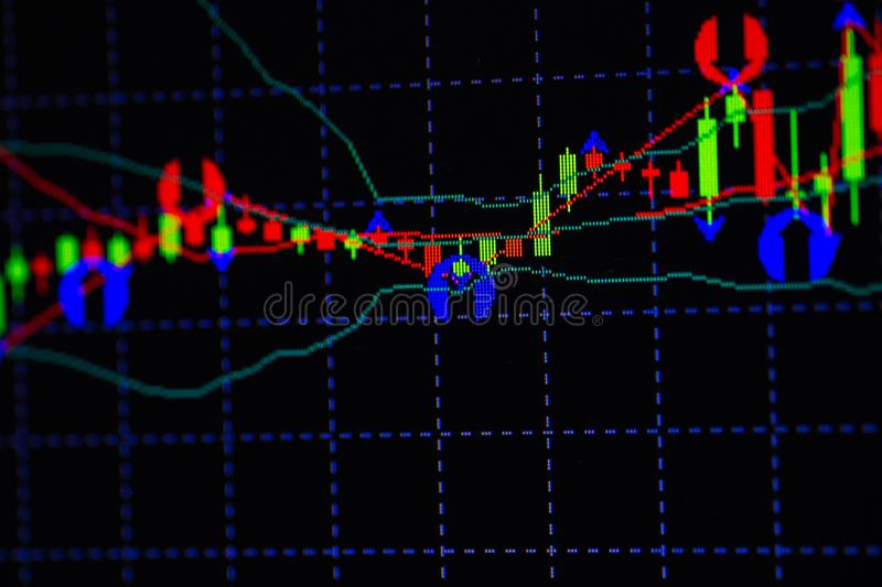 Candle stick graph chart with indicator showing bullish point or bearish point, up trend or down trend of price of stock market or. Stock exchange trading stock photo