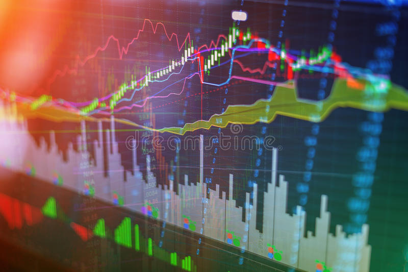 Candle stick graph chart of stock market royalty free stock photography