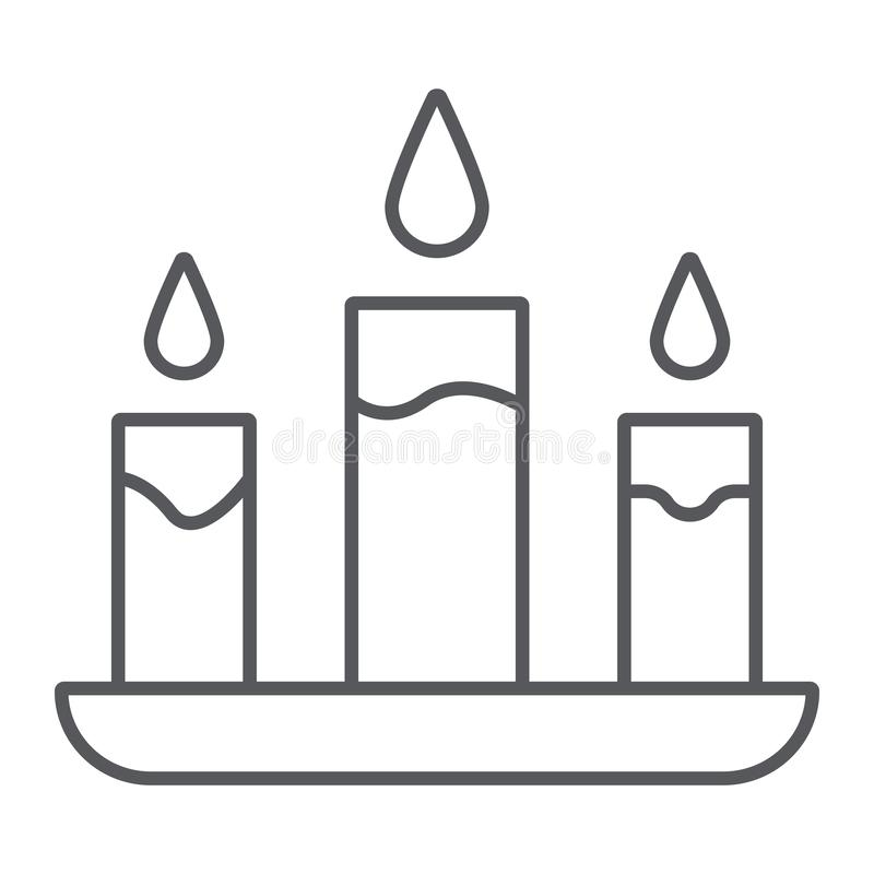 Candle thin line icon, fire and light, candlelight sign, vector graphics, a linear pattern on a white background. Candle thin line icon, fire and light stock illustration