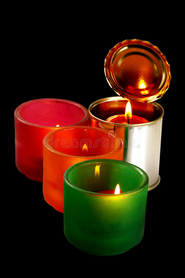 Candle On A Tin Can Stock Images