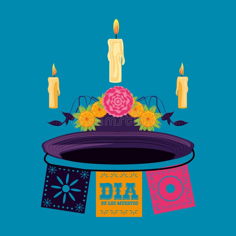 Candle to decorate in day of the dead royalty free illustration