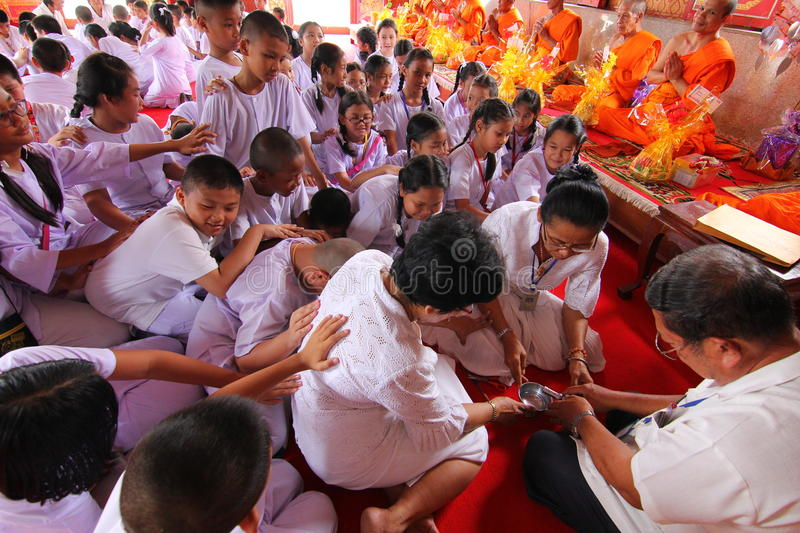 Candle tradition Buddhism in thailand stock image