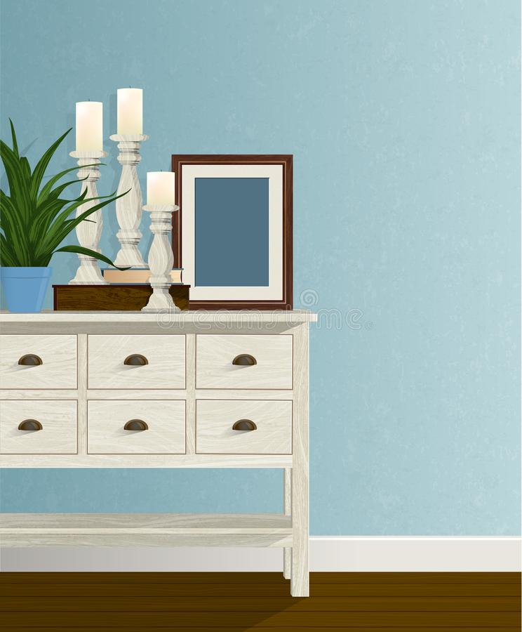 Candle Trio Blue wall houseplant copy space stock photo