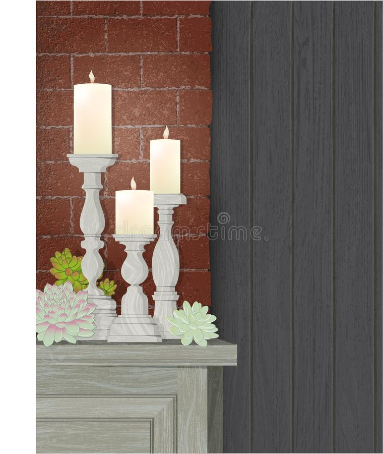 Candle Trio brick wall succulents copy space stock photo