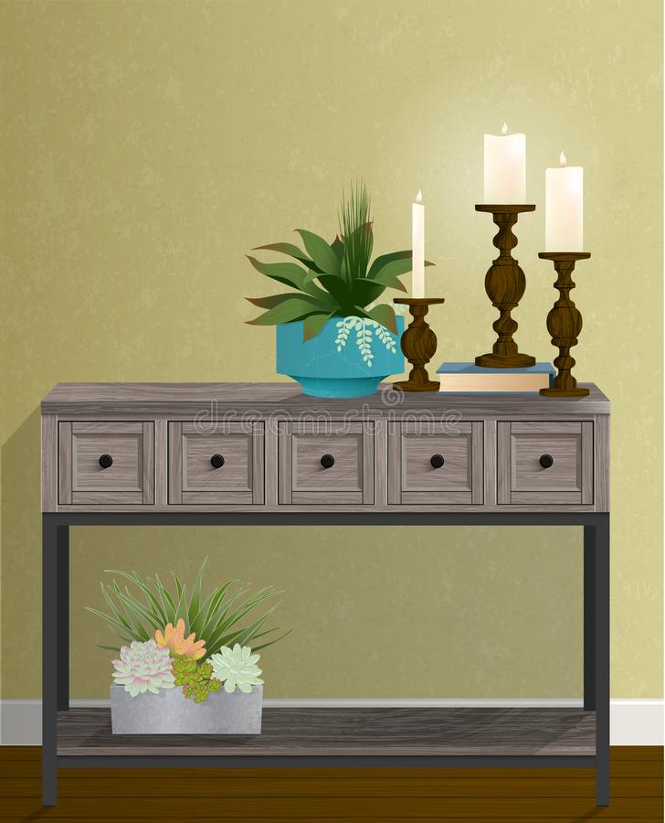Candle Trio gold wall houseplants copy space royalty free stock images