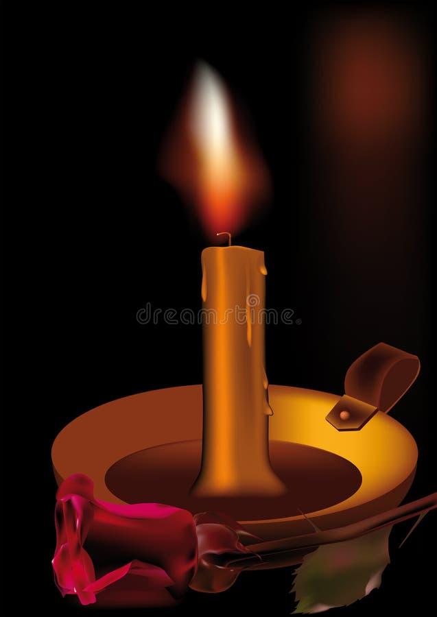 Candle uma rosa e um amor ilustração do vetor