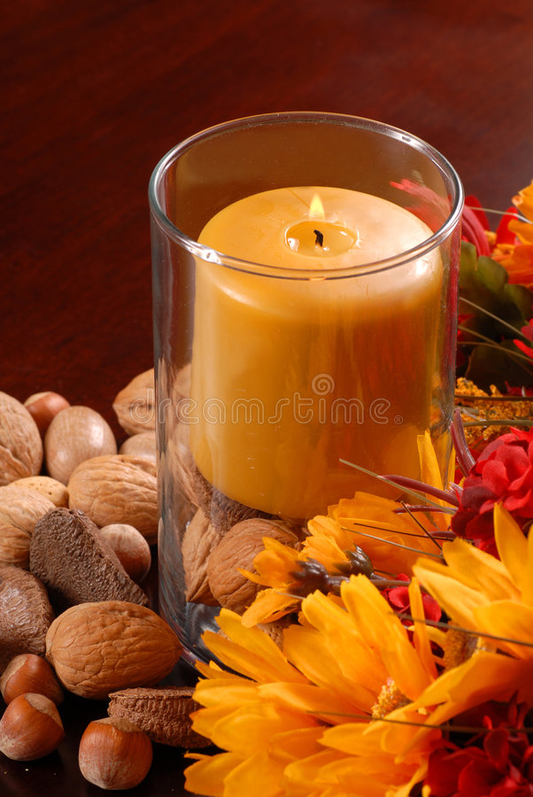 Free Candle With Nuts And Flowers Stock Photo - 3144890