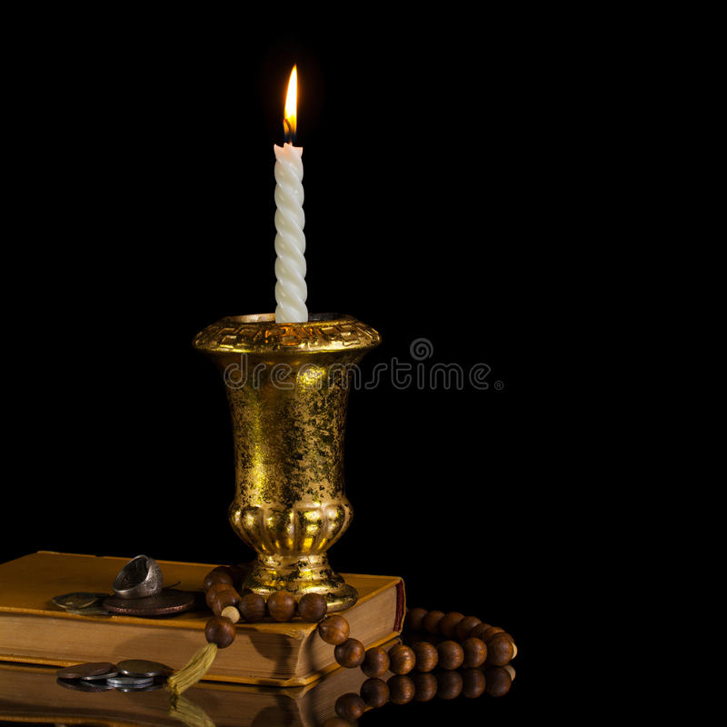 Free Candle With Rosary Stock Image - 24288251