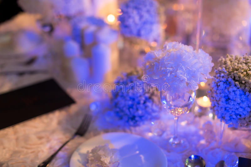 Candlelight Dinner. Wedding table set for dining,Candlelight Dinner,wedding party stock photo