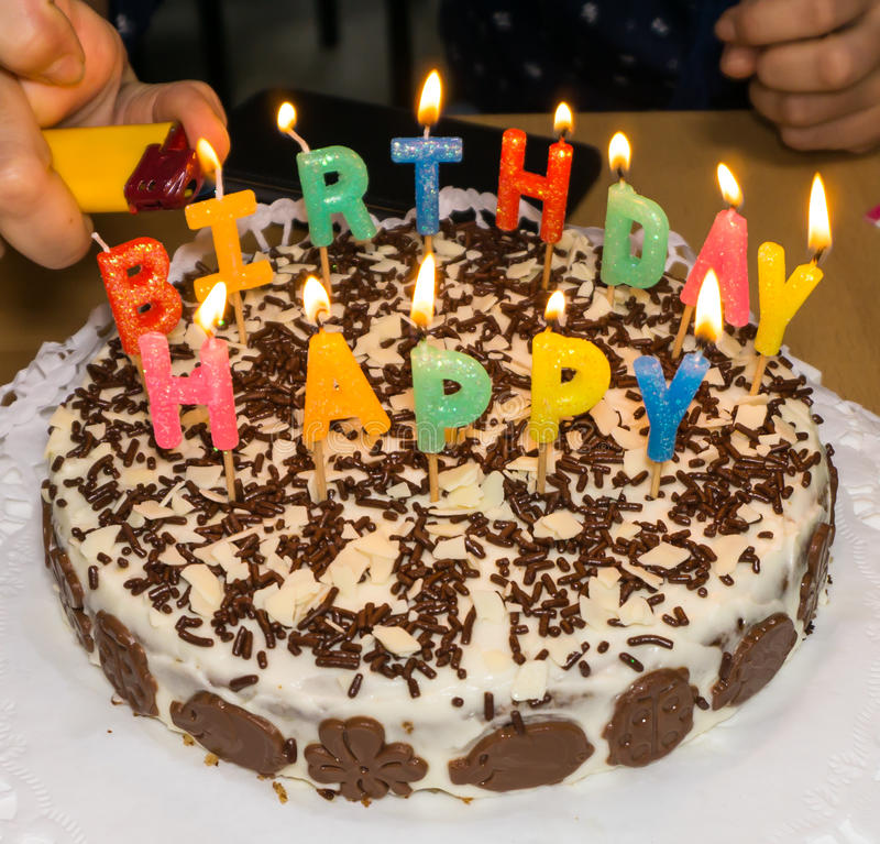 Candlelight homemade Birthday Cake Hand Stock Photo Image of