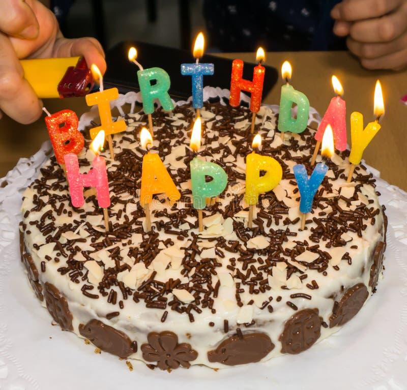 Candlelight Homemade Birthday Cake Hand Stock Photo Image Of